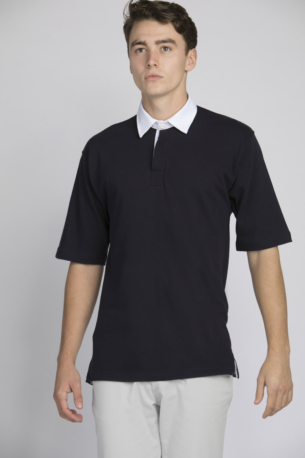 Front Row Short Sleeve Rugby Shirt Traditional Plain Casual Shirt FR003
