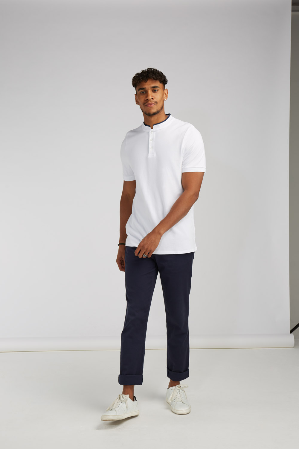 FRONT ROW STAND COLLAR STRETCH POLO SHIRT XS-XXL FR244